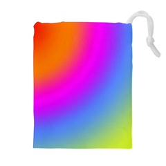 Radial Gradients Red Orange Pink Blue Green Drawstring Pouches (extra Large) by EDDArt