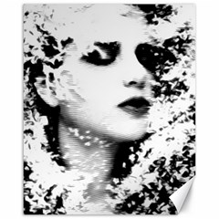 Romantic Dreaming Girl Grunge Black White Canvas 16  X 20