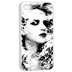 Romantic Dreaming Girl Grunge Black White Apple Iphone 4/4s Seamless Case (white)