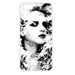 Romantic Dreaming Girl Grunge Black White Apple Iphone 5 Seamless Case (white) by EDDArt