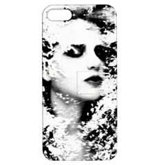 Romantic Dreaming Girl Grunge Black White Apple Iphone 5 Hardshell Case With Stand
