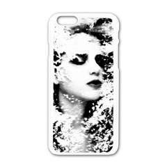 Romantic Dreaming Girl Grunge Black White Apple Iphone 6/6s White Enamel Case