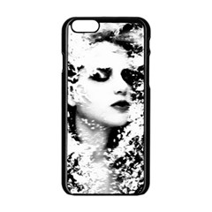 Romantic Dreaming Girl Grunge Black White Apple Iphone 6/6s Black Enamel Case by EDDArt