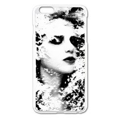 Romantic Dreaming Girl Grunge Black White Apple Iphone 6 Plus/6s Plus Enamel White Case