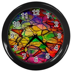 Abstract Squares Triangle Polygon Wall Clocks (black) by AnjaniArt