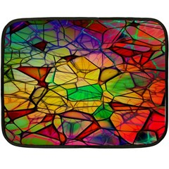 Abstract Squares Triangle Polygon Double Sided Fleece Blanket (mini)  by AnjaniArt