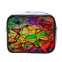 Abstract Squares Triangle Polygon Mini Toiletries Bags by AnjaniArt
