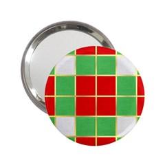 Christmas Fabric Textile Red Green 2 25  Handbag Mirrors by AnjaniArt