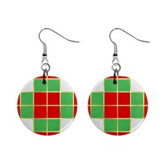 Christmas Fabric Textile Red Green Mini Button Earrings