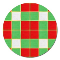 Christmas Fabric Textile Red Green Magnet 5  (round) by AnjaniArt
