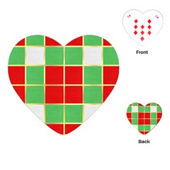 Christmas Fabric Textile Red Green Playing Cards (heart)