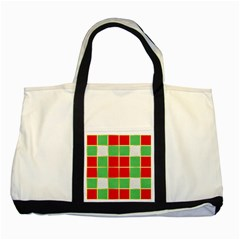Christmas Fabric Textile Red Green Two Tone Tote Bag by AnjaniArt