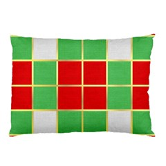Christmas Fabric Textile Red Green Pillow Case by AnjaniArt