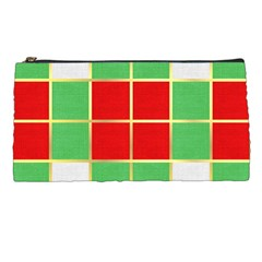 Christmas Fabric Textile Red Green Pencil Cases by AnjaniArt
