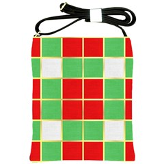 Christmas Fabric Textile Red Green Shoulder Sling Bags by AnjaniArt