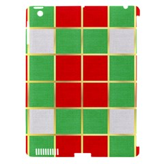 Christmas Fabric Textile Red Green Apple Ipad 3/4 Hardshell Case (compatible With Smart Cover) by AnjaniArt