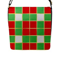 Christmas Fabric Textile Red Green Flap Messenger Bag (l)  by AnjaniArt