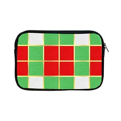 Christmas Fabric Textile Red Green Apple Ipad Mini Zipper Cases by AnjaniArt