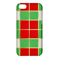 Christmas Fabric Textile Red Green Apple Iphone 5c Hardshell Case by AnjaniArt
