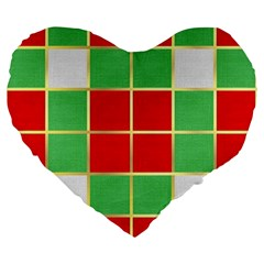Christmas Fabric Textile Red Green Large 19  Premium Flano Heart Shape Cushions by AnjaniArt