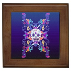 Día De Los Muertos Skull Ornaments Multicolored Framed Tiles