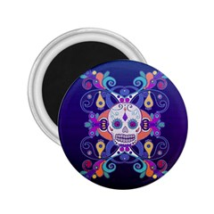 Día De Los Muertos Skull Ornaments Multicolored 2 25  Magnets