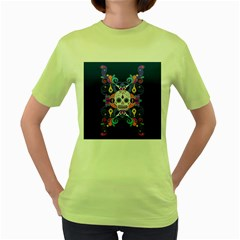 Día De Los Muertos Skull Ornaments Multicolored Women s Green T Shirt