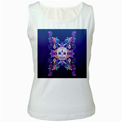 Día De Los Muertos Skull Ornaments Multicolored Women s White Tank Top