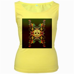 Día De Los Muertos Skull Ornaments Multicolored Women s Yellow Tank Top