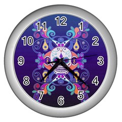 Día De Los Muertos Skull Ornaments Multicolored Wall Clocks (silver)  by EDDArt