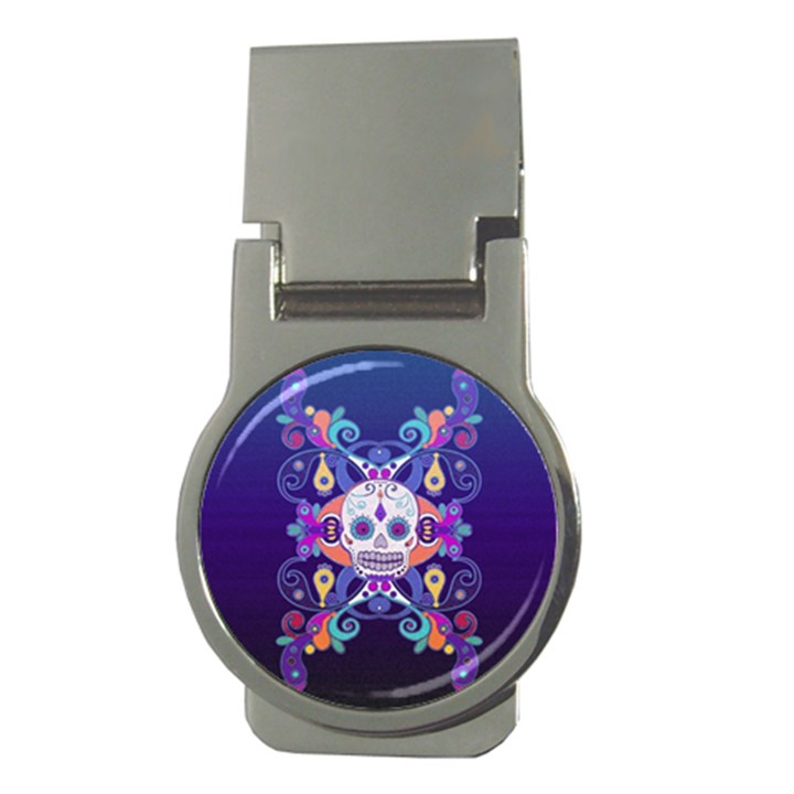 Día De Los Muertos Skull Ornaments Multicolored Money Clips (Round)