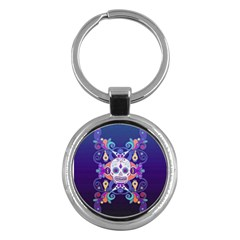 Día De Los Muertos Skull Ornaments Multicolored Key Chains (round)  by EDDArt