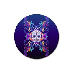 Día De Los Muertos Skull Ornaments Multicolored Rubber Coaster (round)  by EDDArt