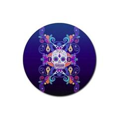 Día De Los Muertos Skull Ornaments Multicolored Rubber Round Coaster (4 Pack)  by EDDArt