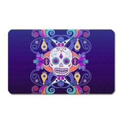 Día De Los Muertos Skull Ornaments Multicolored Magnet (rectangular) by EDDArt