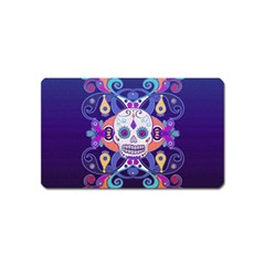 Día De Los Muertos Skull Ornaments Multicolored Magnet (name Card)