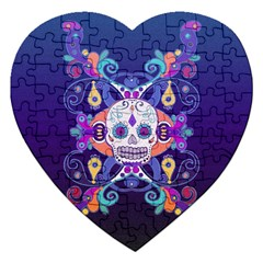 Día De Los Muertos Skull Ornaments Multicolored Jigsaw Puzzle (heart) by EDDArt