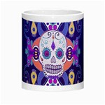 Día De Los Muertos Skull Ornaments Multicolored Morph Mugs Center