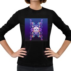 Día De Los Muertos Skull Ornaments Multicolored Women s Long Sleeve Dark T Shirts by EDDArt