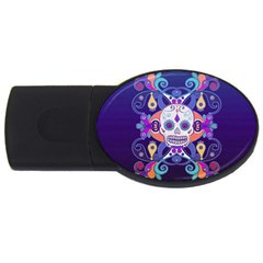 Día De Los Muertos Skull Ornaments Multicolored Usb Flash Drive Oval (4 Gb)  by EDDArt