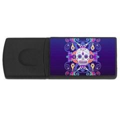 Día De Los Muertos Skull Ornaments Multicolored Usb Flash Drive Rectangular (4 Gb)  by EDDArt