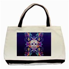 Día De Los Muertos Skull Ornaments Multicolored Basic Tote Bag by EDDArt
