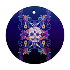 Día De Los Muertos Skull Ornaments Multicolored Round Ornament (two Sides)  by EDDArt