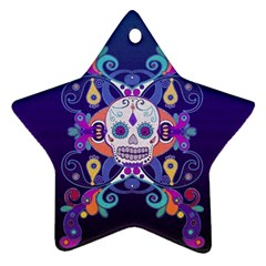 Día De Los Muertos Skull Ornaments Multicolored Star Ornament (two Sides)  by EDDArt