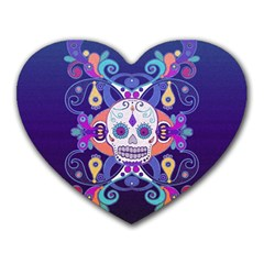 Día De Los Muertos Skull Ornaments Multicolored Heart Mousepads by EDDArt