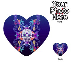 Día De Los Muertos Skull Ornaments Multicolored Multi Purpose Cards (heart)  by EDDArt