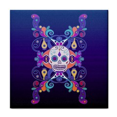Día De Los Muertos Skull Ornaments Multicolored Face Towel by EDDArt