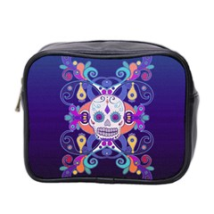 Día De Los Muertos Skull Ornaments Multicolored Mini Toiletries Bag 2 Side by EDDArt