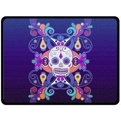 Día De Los Muertos Skull Ornaments Multicolored Fleece Blanket (large)  by EDDArt