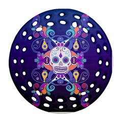 Día De Los Muertos Skull Ornaments Multicolored Round Filigree Ornament (2side) by EDDArt